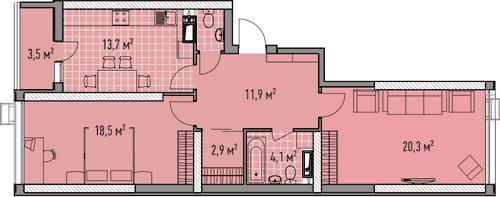 Двухкомнатная - ЖК Элегия Парк$65232Площадь:72,48m²