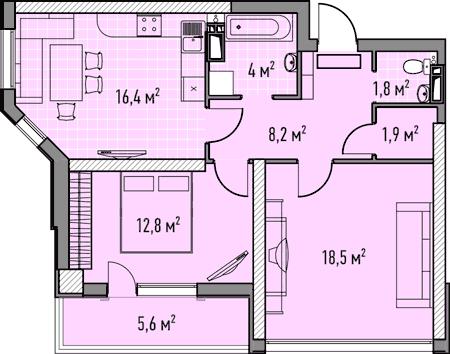 Двухкомнатная - ЖК Элегия Парк$63302Площадь:65,94m²