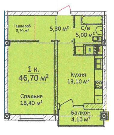 ЖК на Еврейской Чайная фабрика СК Будова Однокомнатная 46,7 Планировка