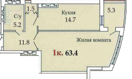 59,6 ЖК Одиссей однокомнатная планировка