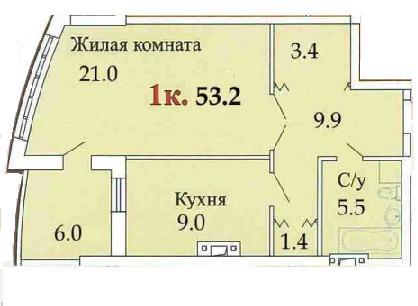Однокомнатная - ЖК ОдиссейПроданаПлощадь:53m²