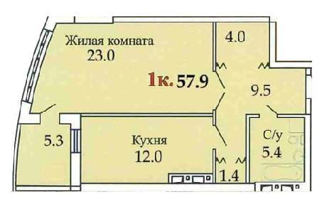 Однокомнатная - ЖК Одиссей$36890Площадь:58,5m²