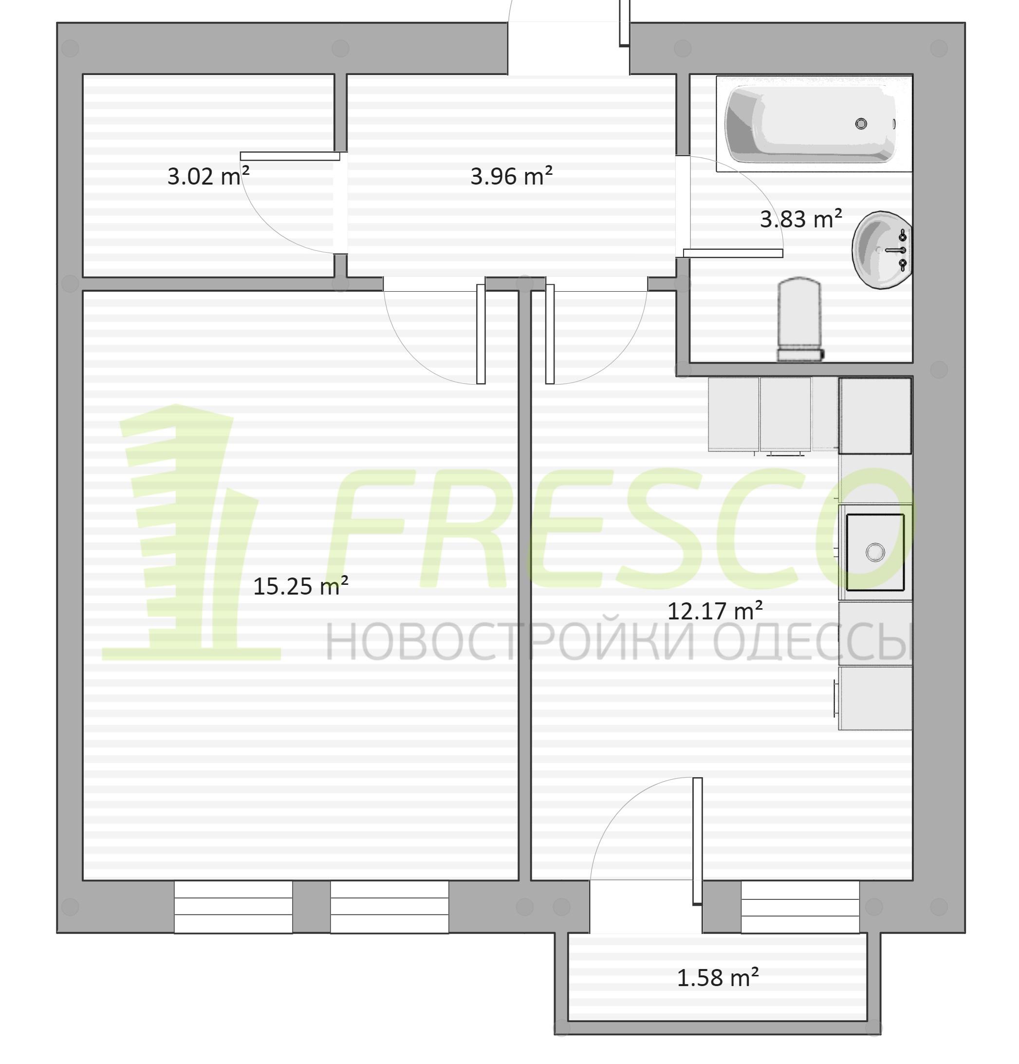 Однокомнатная - ЖК Chelsea club house (Клубный дом Челси)ПроданаПлощадь:38,87m²