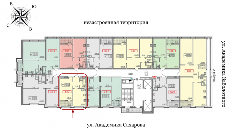 20 Жемчужина 41,3 Однокомнатная Расположение на этаже
