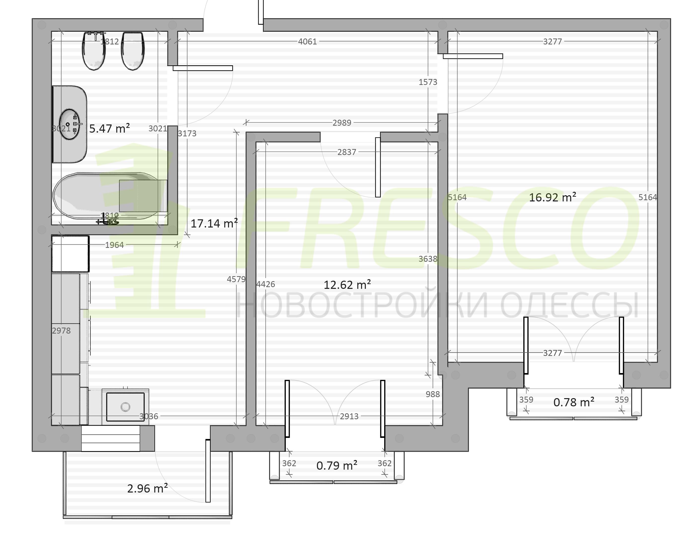 Двухкомнатная - ЖК Chelsea club house (Клубный дом Челси)$86875Площадь:59,3m²