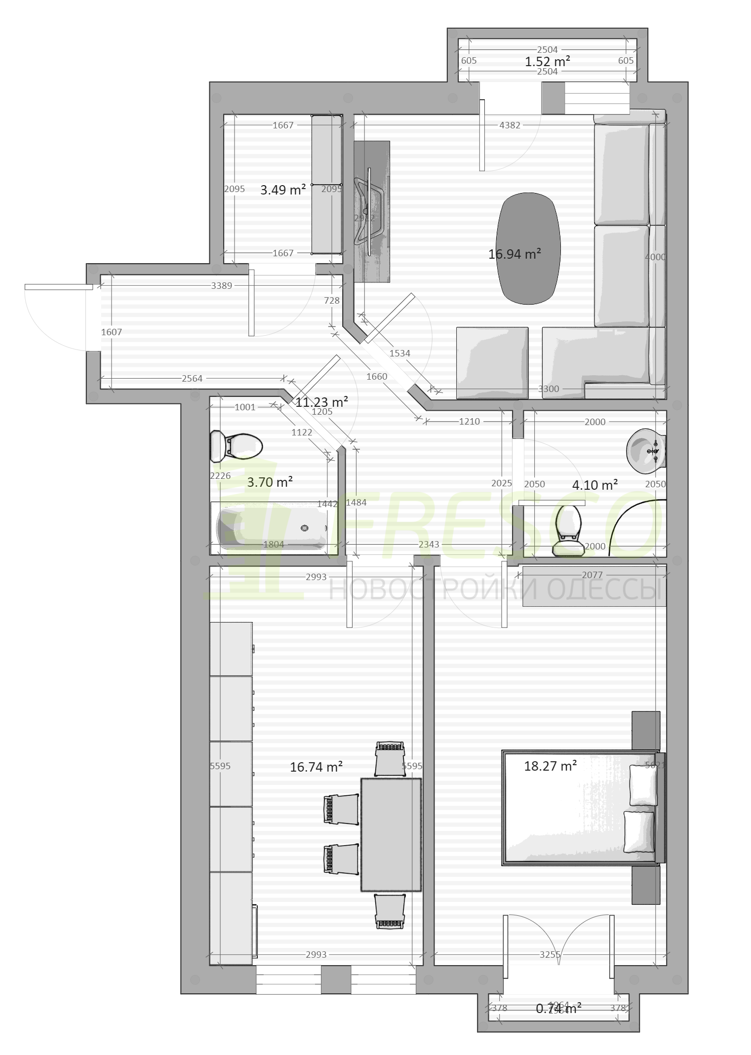 Двухкомнатная - ЖК Chelsea club house (Клубный дом Челси)$114856Площадь:78,4m²