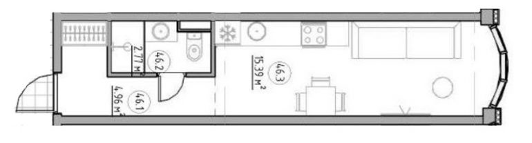 The Apartments Квартира-студия 22,6 Планировка