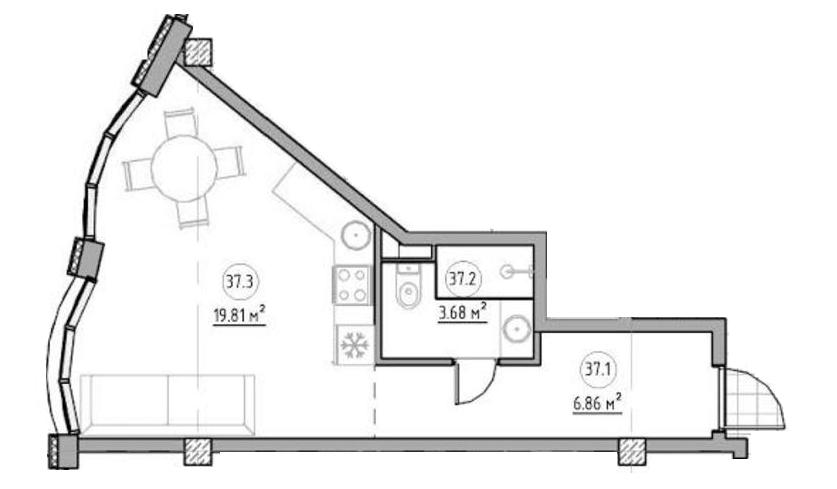 Однокомнатная - ЖК The ApartmentsПроданаПлощадь:30,78m²