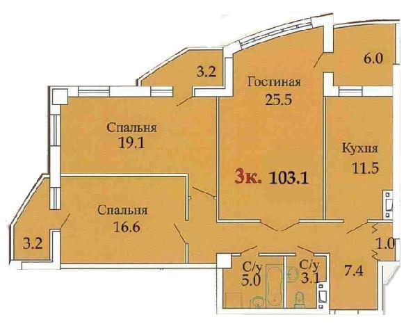Трехкомнатная - ЖК ОдиссейПроданаПлощадь:103,5m²