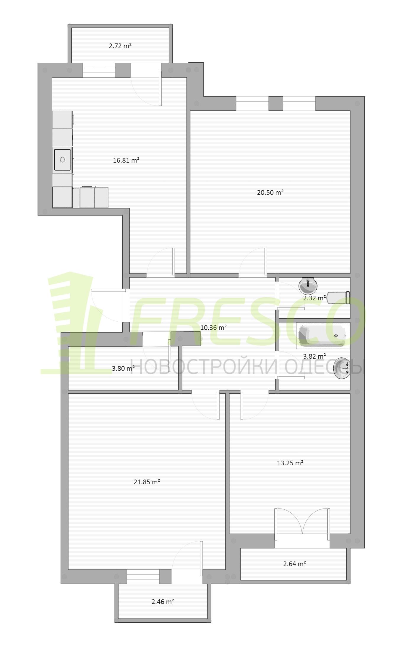 Трехкомнатная - ЖК Chelsea club house (Клубный дом Челси)ПроданаПлощадь:96,7m²