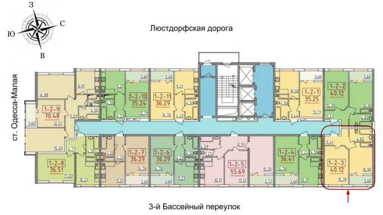 34 Жемчужина Однокомнатная 41,64 Расположение на этаже