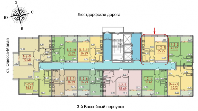 34 Жемчужина Однокомнатная 36,76 Расположение на этаже