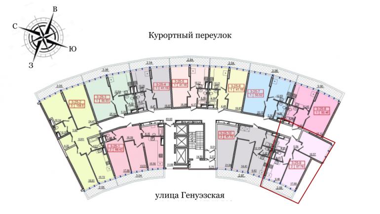 57,78 36 Жемчужина Двухкомнатная Расположение на этаже