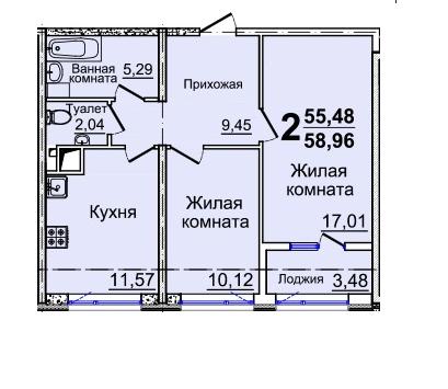 Двухкомнатная - ЖК 37 Жемчужина (Тридцать седьмая)ПроданаПлощадь:58,72m²