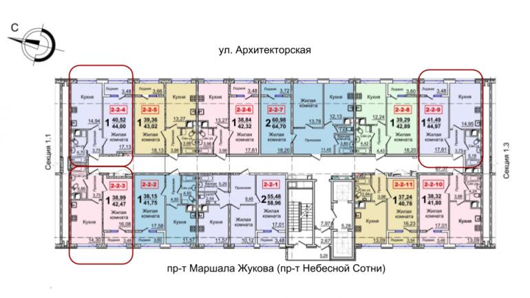 37 Жемчужина однокомнатная 42,27 расположение на этаже