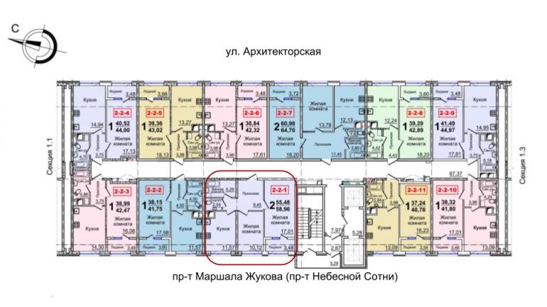 37 Жемчужина двухкомнатная 58,72 расположение на этаже