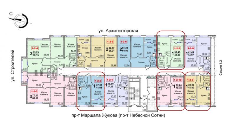 40,78 кв.м 37 жемчужина однокомнатная расположение на этаже