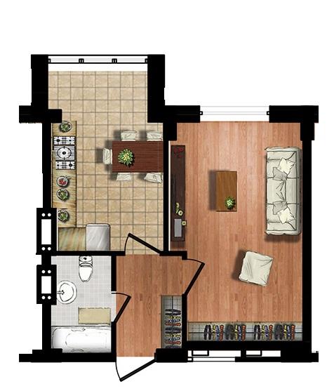 ЖК МАршал Сити 39,90 однокомнатная планировка 1