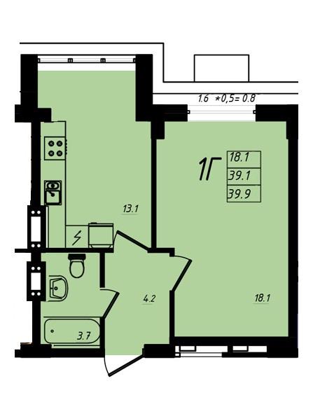 ЖК МАршал Сити 39,90 однокомнатная планировка