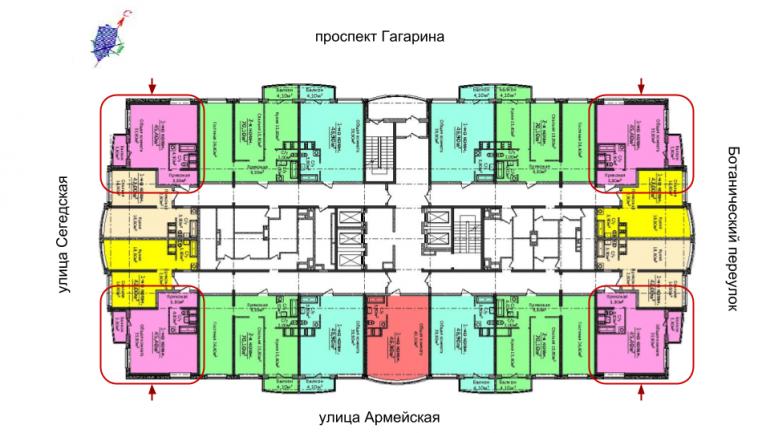 4 сезона 4 секция Однокомнатная 45,4 Расположение на этаже