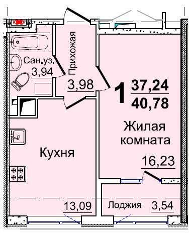 Однокомнатная - ЖК 37 Жемчужина (Тридцать седьмая)ПроданаПлощадь:40,78m²