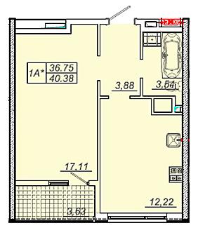 41 кв.м 20 Жемчужина Однокомнатная Планировка
