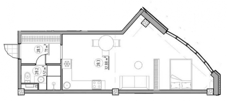 The Apartments Квартира-студия 41,1 Планировка