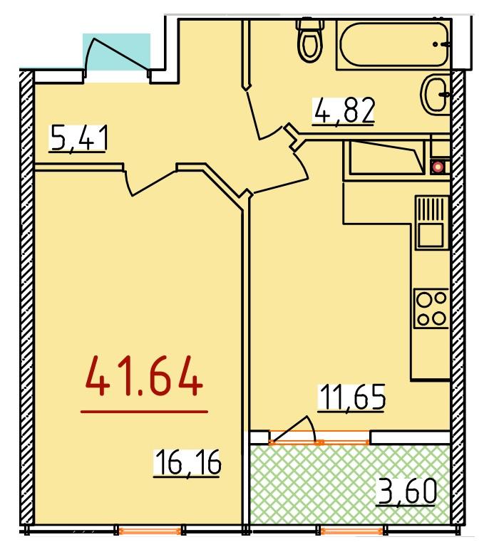 Однокомнатная - ЖК 34 ЖемчужинаПроданаПлощадь:41,64m²
