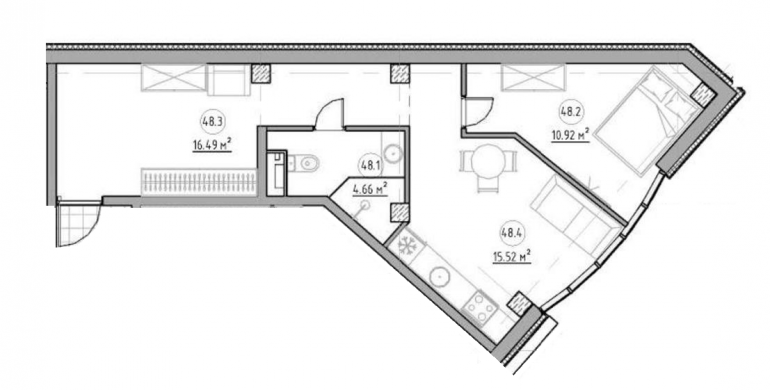 The Apartments Однокомнатная 47,2 Планировка