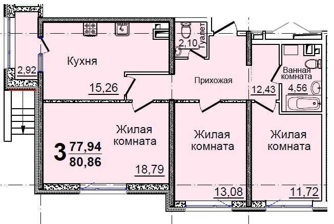 Трехкомнатная - ЖК 37 Жемчужина (Тридцать седьмая)$49486Площадь:78,8m²