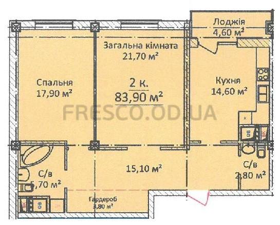 83,9 кв.м ЖК на Еврейской Чайная фабрика СК Будова Двухкомнатная Планировка