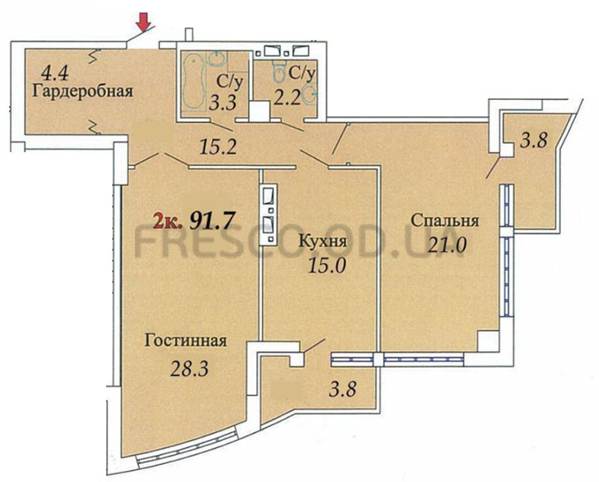 Двухкомнатная - ЖК Одиссей$61969Площадь:89,6m²
