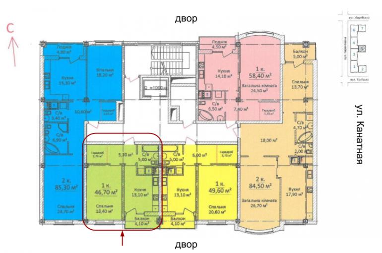 ЖК на Еврейской Чайная фабрика СК Будова Однокомнатная 46,7 Расположение на этаже