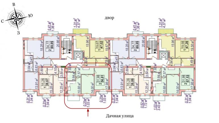 Челси Двухкомнатная 56,81 Расположение на этаже