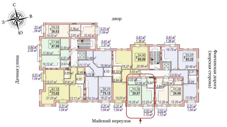 Челси Однокомнатная 38,87 Расположение на этаже