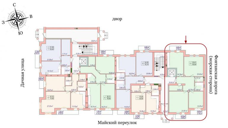 Челси Трехкомнатная 93,25 Расположение на этаже