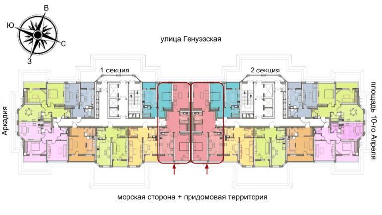 72,72 Элегия Парк Двухкомнатная Расположение на этаже