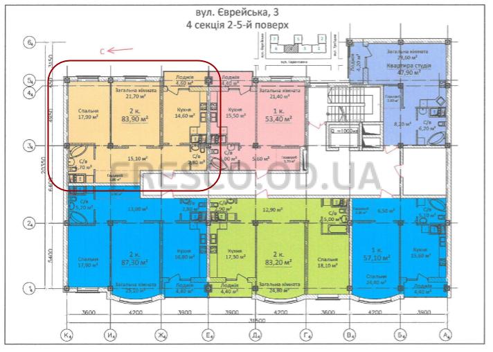 83,9 кв.м ЖК на Еврейской Чайная фабрика СК Будова Двухкомнатная расположение на этаже