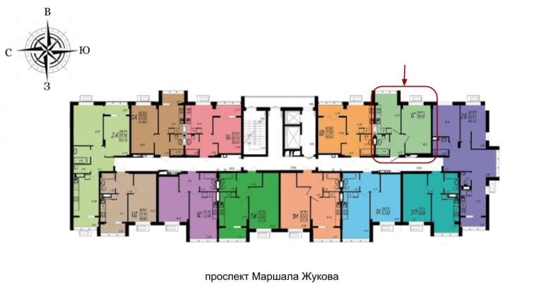 ЖК МАршал Сити 39,90 однокомнатная расположение на этаже
