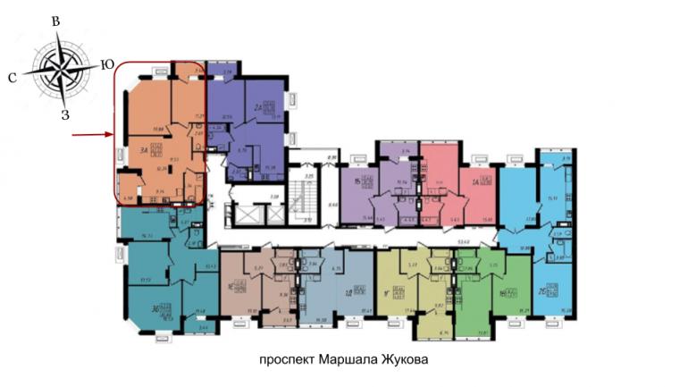 ЖК МАршал Сити 76,25 трехкомнатная расположение на этаже