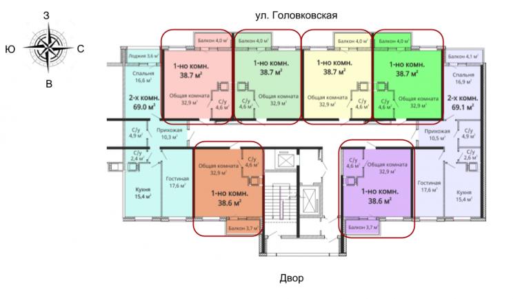 37,9 кв.м ЖК Михайловский городок однокомнатная расположение на этаже
