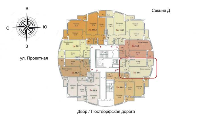 59,6 ЖК Одиссей однокомнатная размещение на этаже