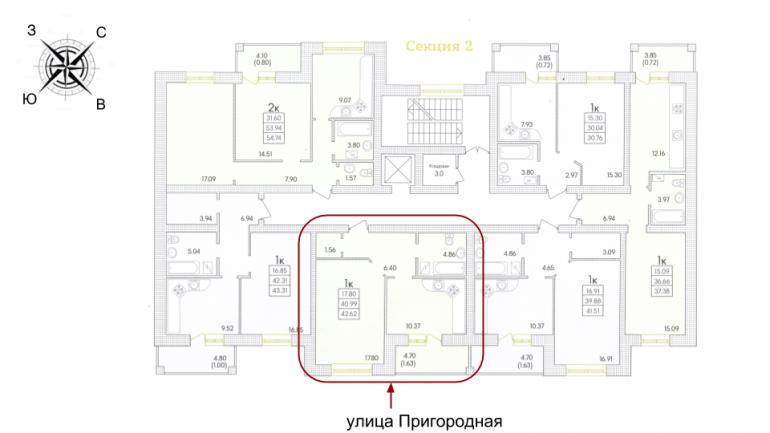 Парк Совиньон Однокомнатная 42,6 кв.м Расположение на этаже