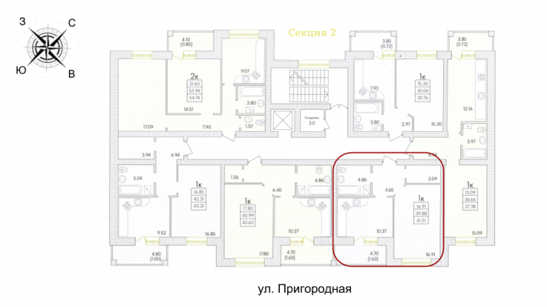 43,33 ЖК парк совиньон однокомнатная размещение на этаже