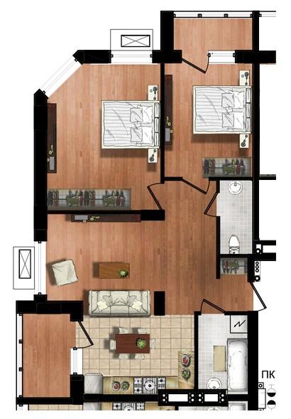 ЖК МАршал Сити 76,25 трехкомнатная планировка 1