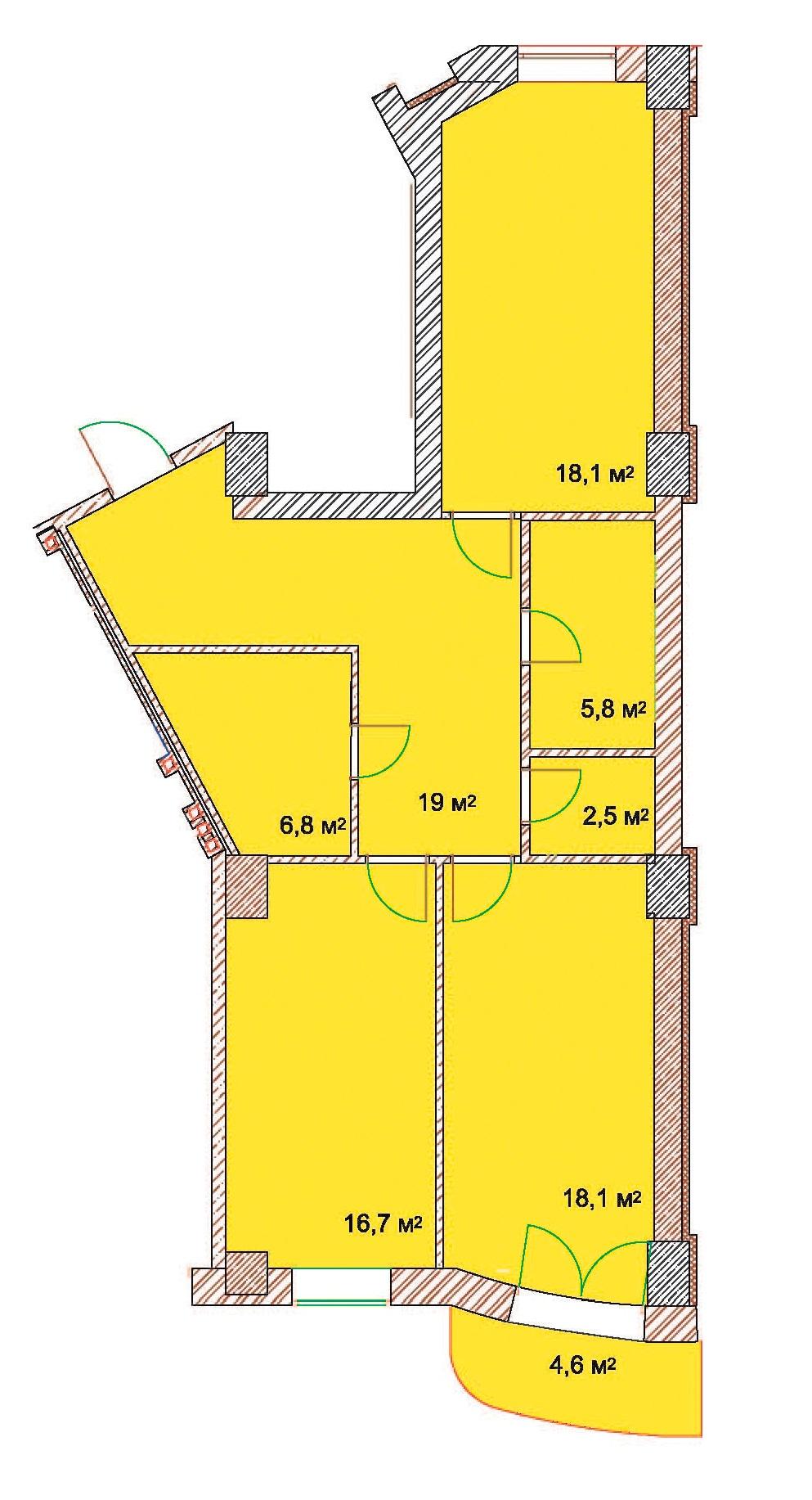 Двухкомнатная - ЖК Наследие Дерибаса$157410Площадь:95,4m²