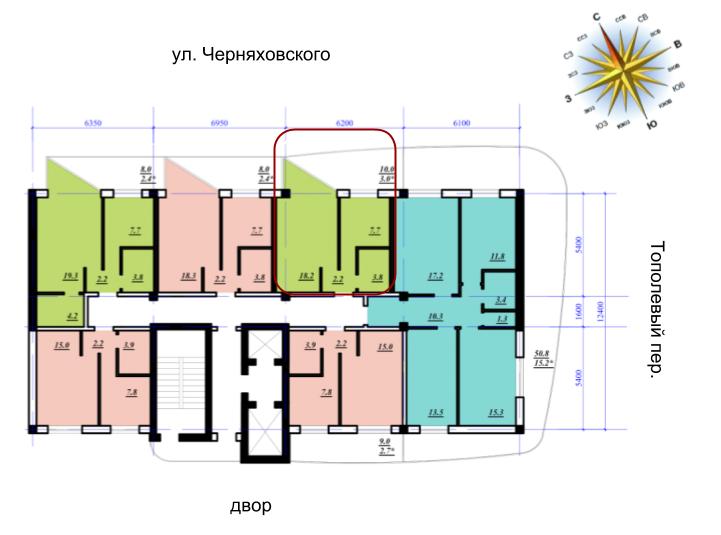 Сады Семирамиды однокомнатная 34,9 расположение на этаже