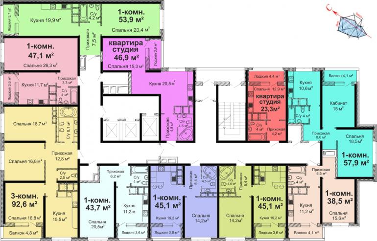 ЖК Скай сити (Sky City) / Секция №1 / План 14-23 этажей
