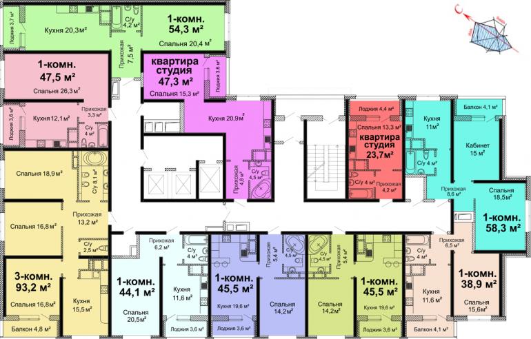 ЖК Скай сити (Sky City) / Секция №1 / План 2-го этажа