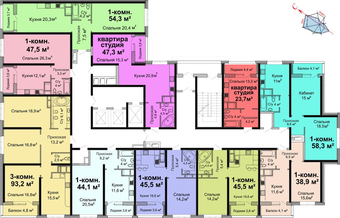 ЖК Скай сити (Sky City) / Секция №1 / План 3-13 этажей